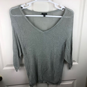 Torrid Gray Silver Sparkly V-Neck Sweater Size 0